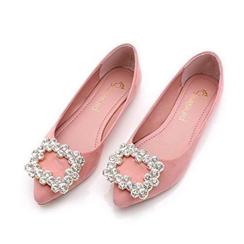 AalarDom Damen Spitz Zehe Nubukleder Flache Schuhe mit Wasser Diamanten Pink