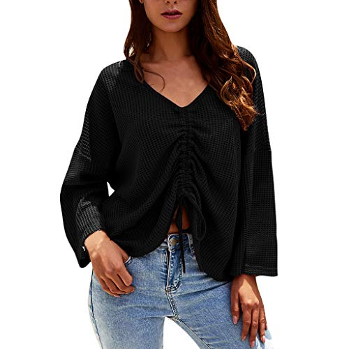 Damen Pullover Langarm Oberteil,Herbst Mode Frauen Langarmshirt Shirt Bluse Gekräuselte Bogen V-Ausschnitt Locker T-Shirt Hemd Tops 2019(Schwarz,XL)