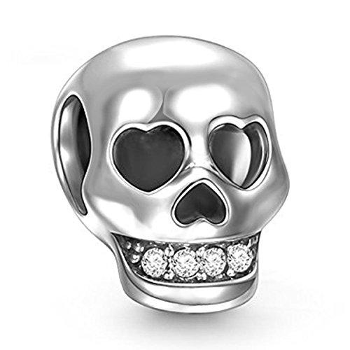 925 Sterling Silber Charms Skull Bead mit Swarovski-Kristall für Pandora Armbänder