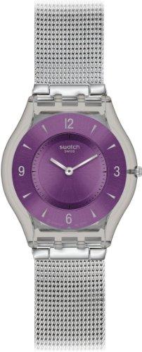 Swatch SFM121M Metal Knit Purple SFM121M - Reloj analógico de cuarzo para mujer, correa de acero inoxidable color plateado