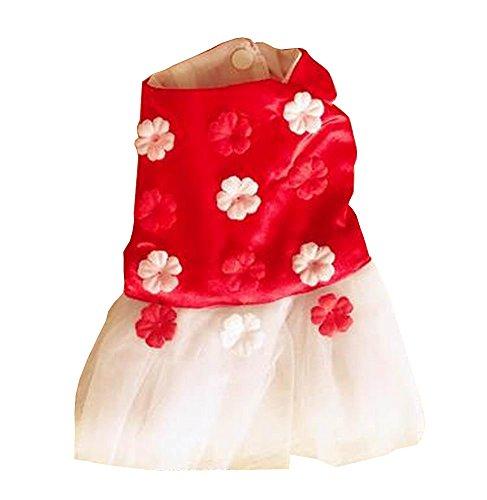 Kleine Hunde Kleidung Mode Kleidung Prinzessin Kleid Blumen [Rot] (Rote Herzen Prinzessin Kostüm Uk)