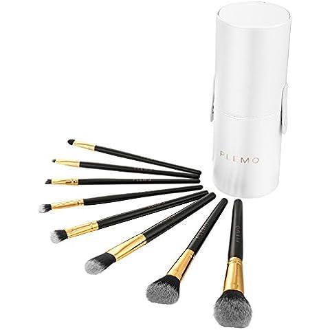 PLEMO Set de Brochas Cosméticas Kit de Cepillos Profesionales de Maquillaje con Estuche de Cuero Sintético PU (8