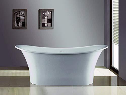 Freistehende Badewanne Mineralguss - oval weiß - inkl. Ablaufventil & Siphon - 181.5x71.7
