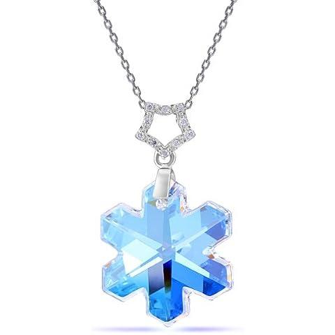 Blue Aurora-Collana con ciondolo a forma di fiocco di neve a forma di stella con cristallo austriaco con montato su collana in argento Sterling 925, 45 cm - Aurora Collana