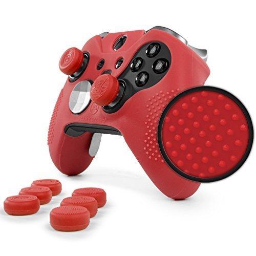 Foamy Lizard ElitePro Grip Nieten Skin Set für Xbox One Elite Controller, schweißfreie Silikonhülle mit erhöhten Anti-Rutsch-Noppen Plus 8 Stück QSX-Elite Daumengriffe Skin + QSX-E Grips rot Red Patent Lizard