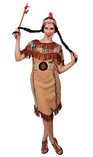 Kostüme Western (Indianer Kostüm für Damen | Größe 40-42 | 3-teiliges Western Kostüm: Kleid, Gürtel und Stirnband | Indianerin Faschingskostüm für Frauen | Squaw Kostüm für Karneval | Indianer-Outfit für)