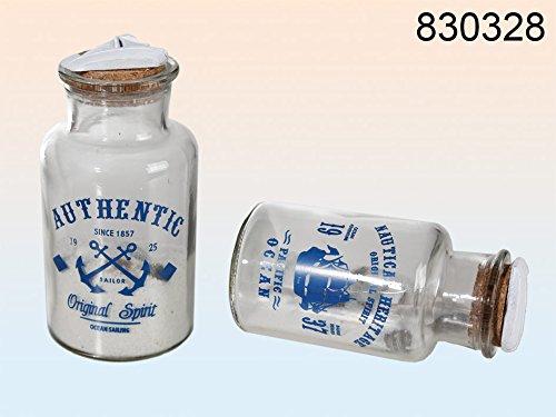 """Runde Glasflasche """"gefüllt mit Sand & Muscheln"""" ~"""