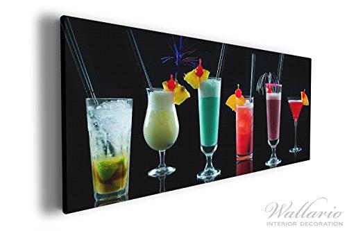 Wallario XXXL Riesen- Leinwandbild Bunte Cocktails vor schwarzem Hintergrund - 80 x 200 cm in...