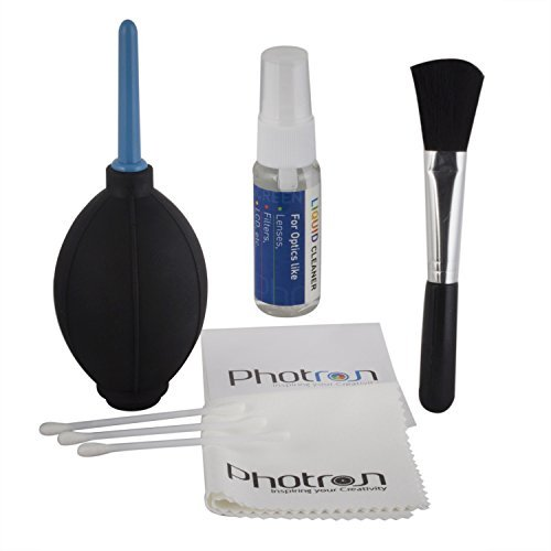 Photron New Professional Clean Pro 6 IN 1 Multi-Purpose Cleaning Kit for Cameras, Lenses, Binoculars, LCD, Laptops, etc, Includes Micro-Fibre Cloth, Brush, Liquid Solution, Powerful Dust Blower, Cotton Swabs & Cleaning Tissue