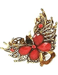 JAYAS COLLECTIONS Ladies Designer Hair Clips / Catch Clips - Antique Design (red)
