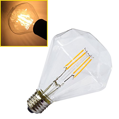 Luxon-Lampadina LED con filamento, G95, stile Vintage Edison, E27, Lampadina a LED 4 W 240 V, 2700 K, vetro trasparente