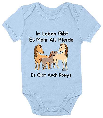 HARIZ Baby Body Kurzarm Im Leben Gibt Es Mehr Als Pferde Es Gibt Auch Ponys Tiere Zoo Plus Geschenkkarte Himmel Hell Blau 3-6 Monate (Himmel Kostüm Gibt)