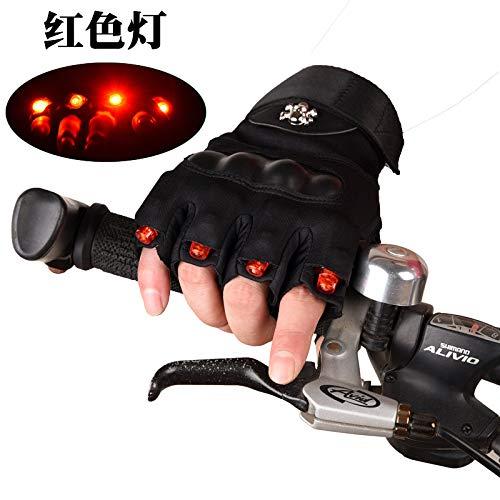 Männer Und Frauen LED Leuchten Half Finger Radfahren Handschuhe Rutschfeste Atmungsaktive Fahrradhandschuhe Für (Color : Rot, Size : L)