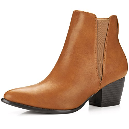 Allegra K Damen Spitzkopf-Schuhe gestapelte Hacke Knöchel Chelsea Stiefel, Braun, EU 37.5 (Stiefel Heel Stacked)