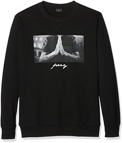 Mister Tee Herren Pray Crewneck Sweatshirts, Black, L (Crewneck Herren Tee)