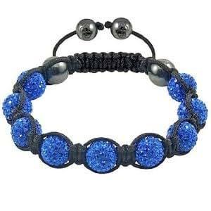 shamballa crystal disco ball friendship bead bracelets bleu avec ficelle noire bijoux. Black Bedroom Furniture Sets. Home Design Ideas