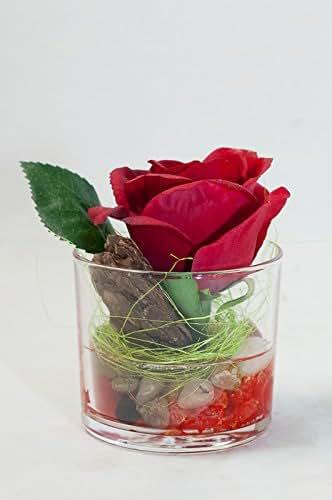 Rote Rose In Kleiner Vase Tischgesteck Tischdeko Mit Kunstlicher