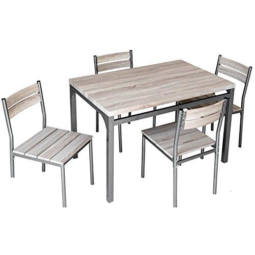 Bakaji Table de Salle à Manger avec 4 chaises avec Structure en métal et Plans en Bois MDF Moderne pour ameublement extérieur Jardin terrasse terrazzino Arredo CASA mesures 110 x 70 x 76 cm