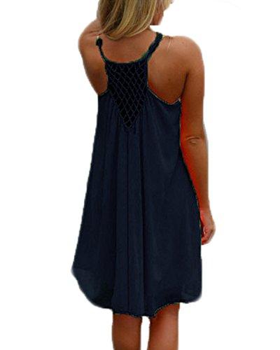 kenoce Damen Sommerkleid Badeanzug Strandkleid Chiffon Bikini Cover Up Boho Halter Ärmellos Lose Sommerkleid Dunkelblau S - Am Kleid Strand