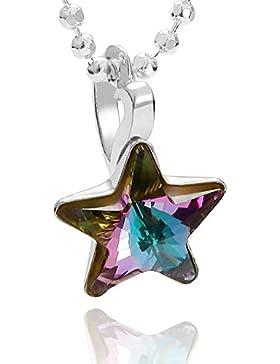 butterfly Mädchen Hals-Kette Silber original Swarovski Elements Stern-Anhänger mehrfarbig lila längen-verstellbar...