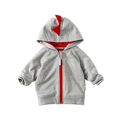 Puseky Toddler Kids Baby Boys Dinosaur Hoodie Hooded Sweatshirt Coat Jacket Tops (6-9 months)