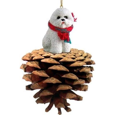 Bichon Frise Dog Pinecone Ornament by Conversation Concepts