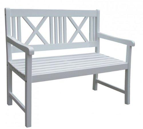 Gartenbank 2-Sitzer weiß lackiert Akazie FSC - Holz