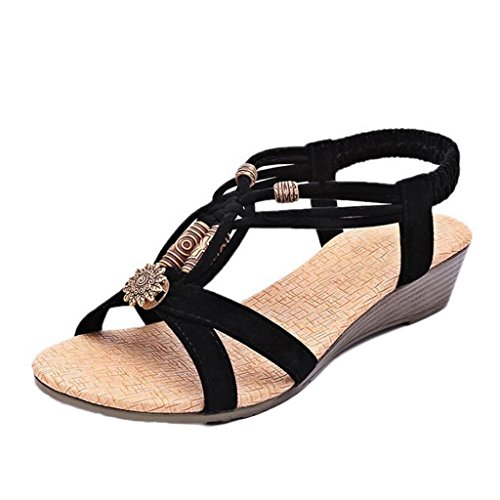 VJGOAL Damen Sandalen, Frauen Mädchen böhmischen Mode Flache beiläufige Sandalen Strand Sommer Flache Schuhe Frau Geschenk (40 EU, Q-Schwarz)