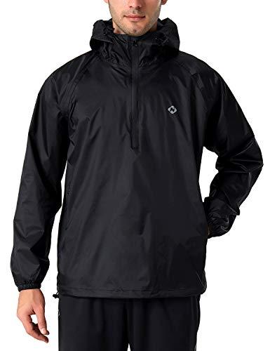 NAVISKIN Herren Regenjacke wasserdicht Fahrrad Jacke 1/2 Zip Outdoor Regenkleidung Kapuze Schwarz Größe XL