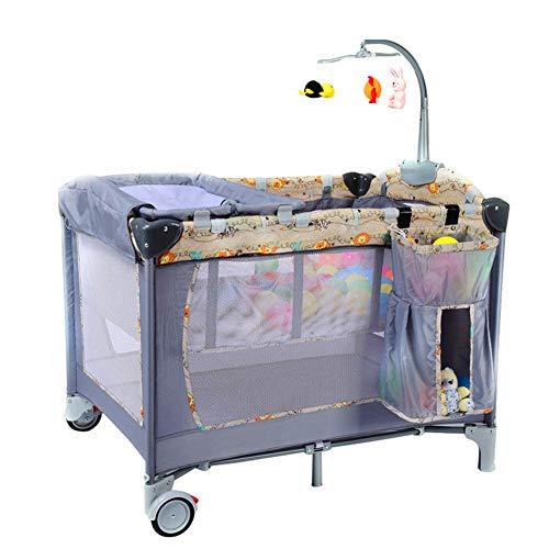 Tragbares Babyreisebett, Multifunktionaler Kindersicherheitszaun im Freien Spielbett Kinderwagen, Herausnehmbare rotierendes Spielzeug Regal Windelhalter, Geeignet für 0-3 Jahre altes Baby