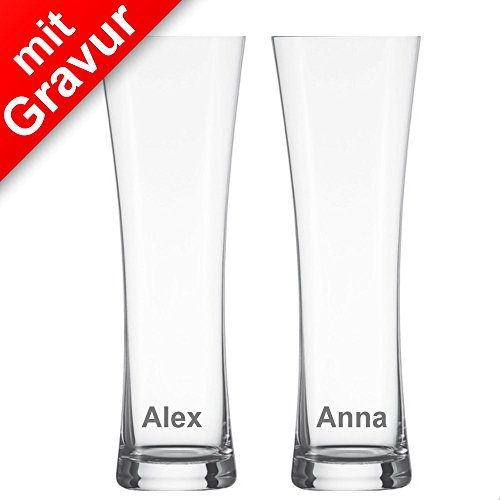 Schott Zwiesel Beer Basic Weizenbierglas mit Mousierpunkt 2er Set 0,5L MIT Gravur (z.B. Namen) - Bierglas