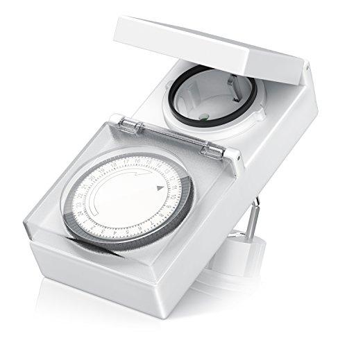 Arendo – mechanische Zeitschaltuhr Outdoor   96 Schaltsegmente   Schieberegler für Zeitangabe   3680W   IP 44 Schutzart (Outdoor)   spritzwassergeschützt   Kinderschutzsicherung