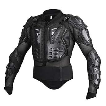 Yuanu Moto Armure Gilet de Protection Pare Pierre Moto Cyclisme Patinage Snowboarding Plastron avec Protection de la Poitrine et Dos Noir S