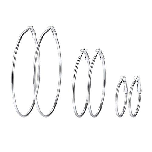 PROSTEEL 3er Ohrringe Set für Damen Edelstahl Creolen Huggie Kreolen Ohrringe Hoop Klappcreolen Ohrschmuck 30mm 50mm 70mm 3 Größe Set, silber