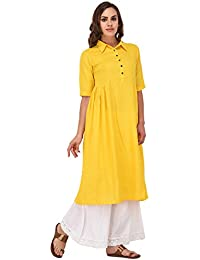 Pistaa Yellow Solid Frock Kurta With Plus Size