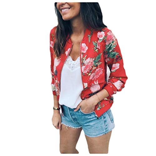 CuteRose Women's Weekend Outwear Overcoat Print Cropped Zip Jackets Short Coat Red S