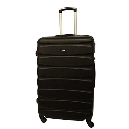 Hartschalen Reisekoffer QTC MAILAND A Trolley M / 55cm Boardcase BLAU Reise Tasche Koffer Handgepäck Case (Schwarz)