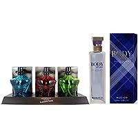 Perfume Frances 100ml Body Stripes by Magico para Hombre 100ml + Set de 3 (tres) Perfumes Franceses Para Hombre 15 ml Cada uno. Dos Regalos al precio de uno.