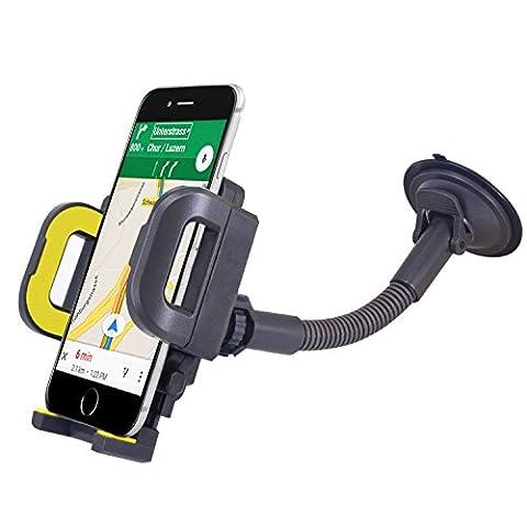 Support de voiture, Hinpia de voiture support de téléphone réglable pare-brise universel Cradle avec forte Collant Gel Pad pour iPhone 6S/6S Plus/7/7Plus/5S/5C/SE, Galaxy Note 4/3, Galaxy S5S6/S6Edge/S7/S8Edge et autres Smart Phone Android