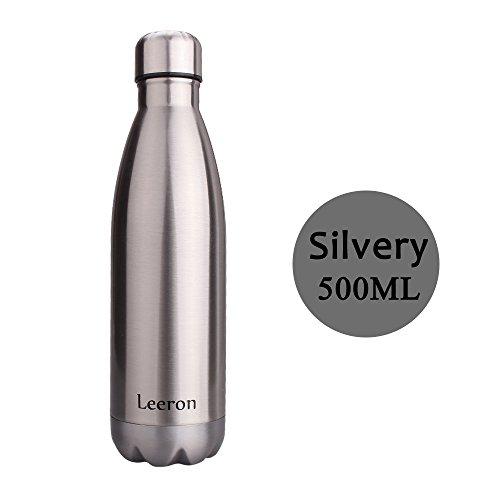 Bottiglia di Acqua in Acciaio Inox, Doppia Parete, 24 Ore Freddo e 12 Ore Caldo, Borraccia Sportiva Bottiglia Sottovuoto - 500ml (Argento)