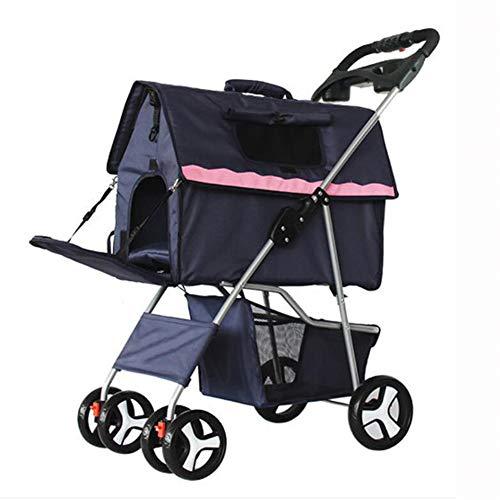 CSDY-Pet Stroller, faltbar Removable Waschbar Split Hund Spaziergänger Tragetasche Teddy Kennel Pet House,Navyblue