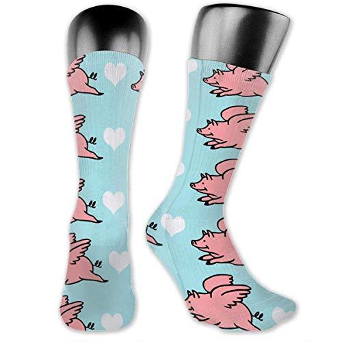 Antibacterial Funny Fly Pigs Compression Elastic Socks Art Ankle Stockings Breathable Funny Casual Crew Socks aqua socks