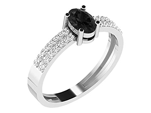 Libertini Women's 92 Kt White Color Silver Oval Shaped 0.16 Ct Round Cut Diamond And 0.8 Ct Dark Ruby Ring Size: