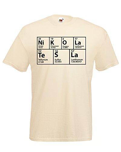 The Big Bang Theory inspirierter Periodendensystem-Tisch, Nikola Tesla? T-Shirt Gr. L, Natur