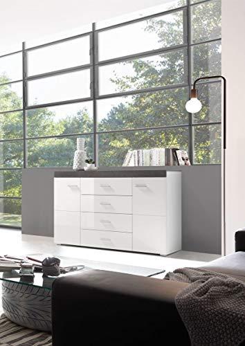 Dreams4Home Sideboard \'Modo 1\'- B/H/T:136x86x40 cm Weiß MDF Hochgl. Dark Concret