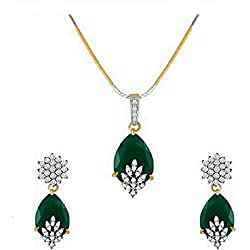 M CREATION American Diamond Gold Plated Pendant Set for Women/Girls (Green)