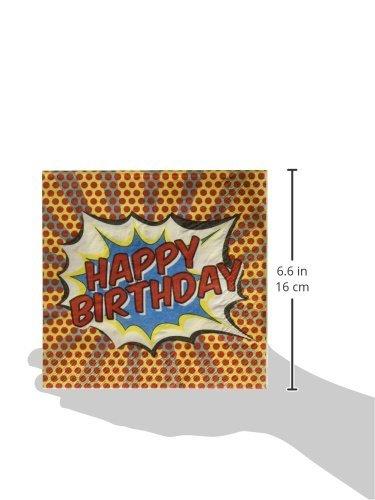 41RMWy7M50L - Ginger Ray feliz cumpleaños servilletas de papel-Pop Art Superhero Decoración