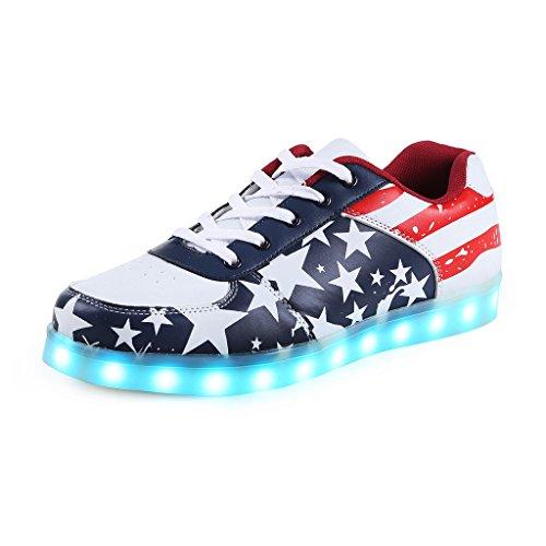 Iluminado Sapatos Luminosa Saguaro® Desporto Homens Cores 7 Usb Carregamento Led Casal De Unissex Para De Mehrfarbig Mulheres Tênis Casuais wvYq8