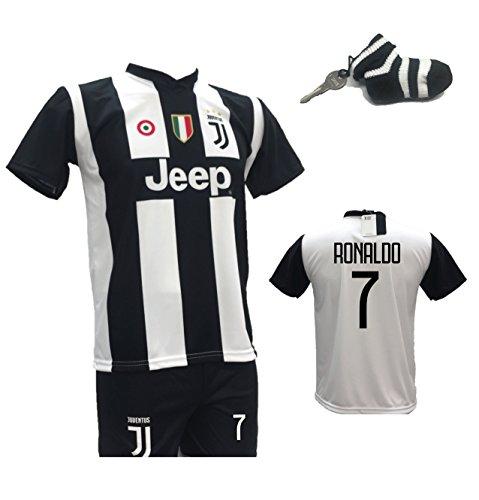 Completo calcio maglia cristiano ronaldo 7 cr7 juventus + pantaloncino con numero 7 stampato replica autorizzata 2018-2019 bambino (taglie 2 4 6 8 10 12) con in regalo calzino portachiavi bianconero (4 anni)