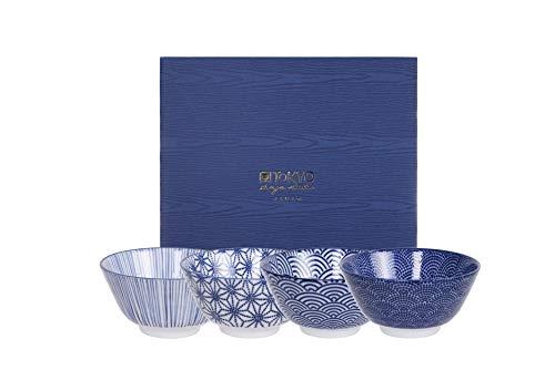 Tokyo Design Studio, Bol en porcelaine motif Nippon Blue - Coffret de 4, Diamètre: 12.0cm